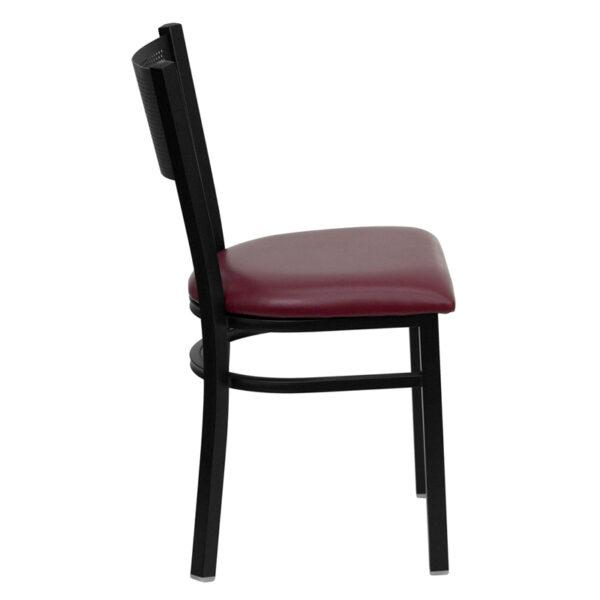 Lowest Price HERCULES Series Black Grid Back Metal Restaurant Chair - Burgundy Vinyl Seat