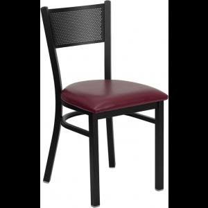 Wholesale HERCULES Series Black Grid Back Metal Restaurant Chair - Burgundy Vinyl Seat