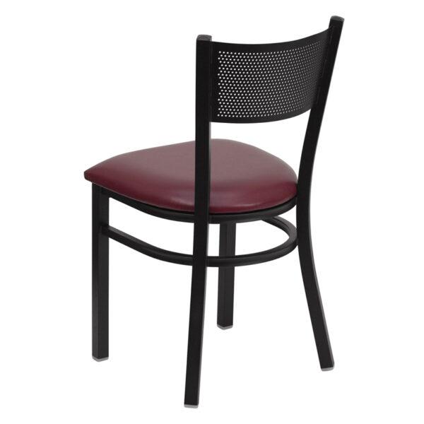 Metal Dining Chair Black Grid Chair-Burg Seat