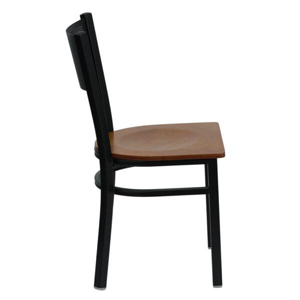 Lowest Price HERCULES Series Black Grid Back Metal Restaurant Chair - Cherry Wood Seat