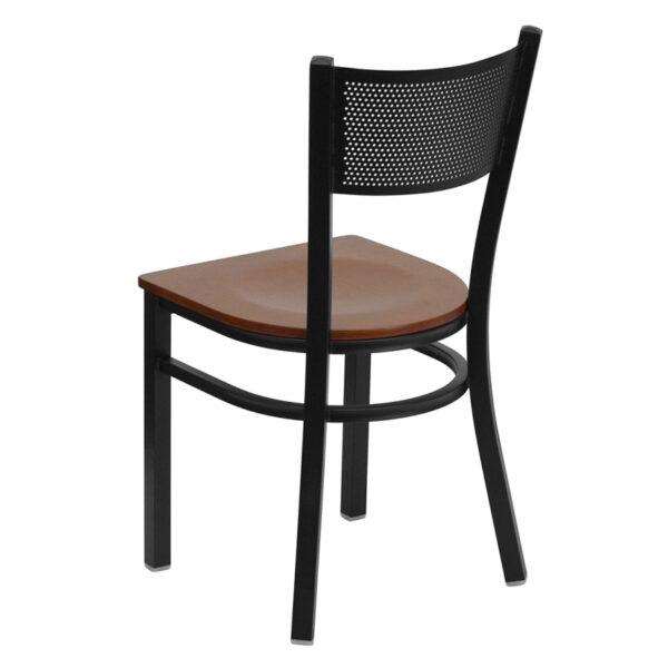 Metal Dining Chair Black Grid Chair-Cherry Seat