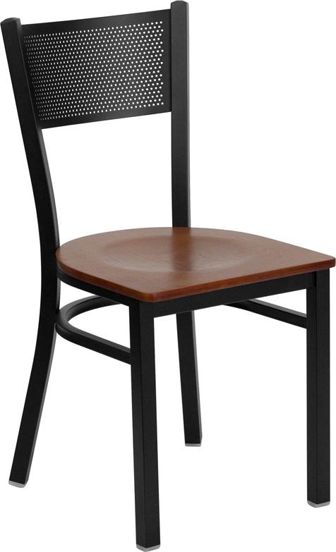 Wholesale HERCULES Series Black Grid Back Metal Restaurant Chair - Cherry Wood Seat