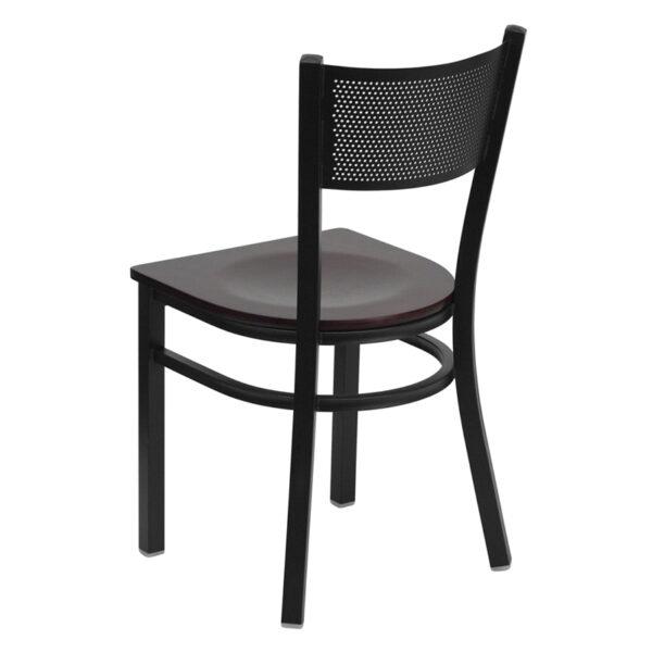 Metal Dining Chair Black Grid Chair-Mah Seat