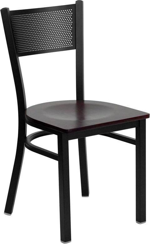 Wholesale HERCULES Series Black Grid Back Metal Restaurant Chair - Mahogany Wood Seat