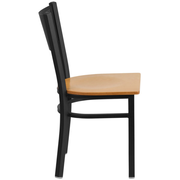 Lowest Price HERCULES Series Black Grid Back Metal Restaurant Chair - Natural Wood Seat