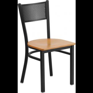 Wholesale HERCULES Series Black Grid Back Metal Restaurant Chair - Natural Wood Seat