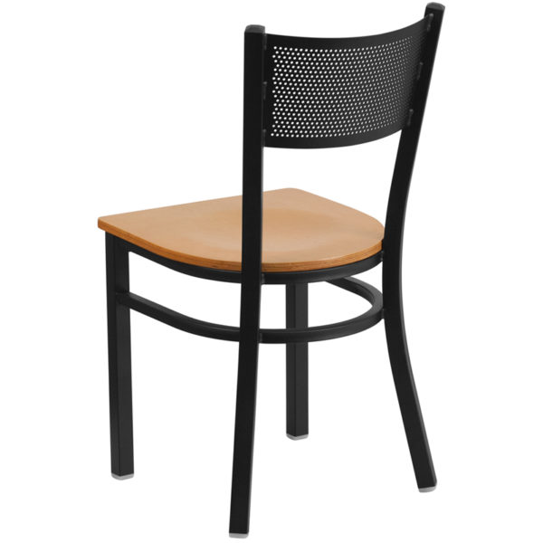 Metal Dining Chair Black Grid Chair-Nat Seat