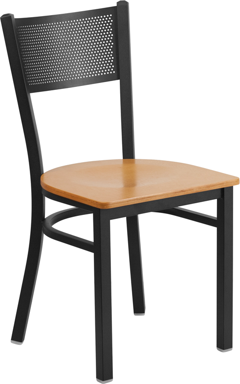 Wholesale HERCULES Series Black Grid Back Metal Restaurant Chair - Natural Wood Seat