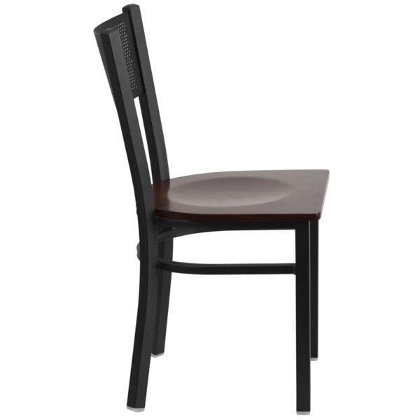Lowest Price HERCULES Series Black Grid Back Metal Restaurant Chair - Walnut Wood Seat