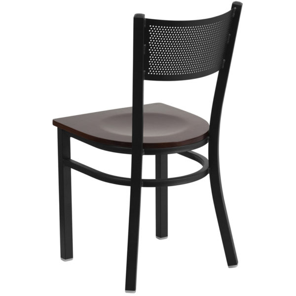 Metal Dining Chair Black Grid Chair-Wal Seat