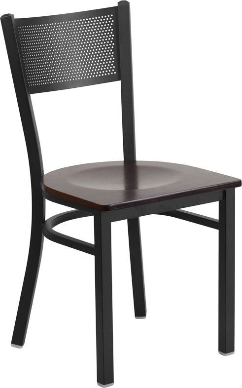 Wholesale HERCULES Series Black Grid Back Metal Restaurant Chair - Walnut Wood Seat