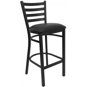 Wholesale HERCULES Series Black Ladder Back Metal Restaurant Barstool - Black Vinyl Seat