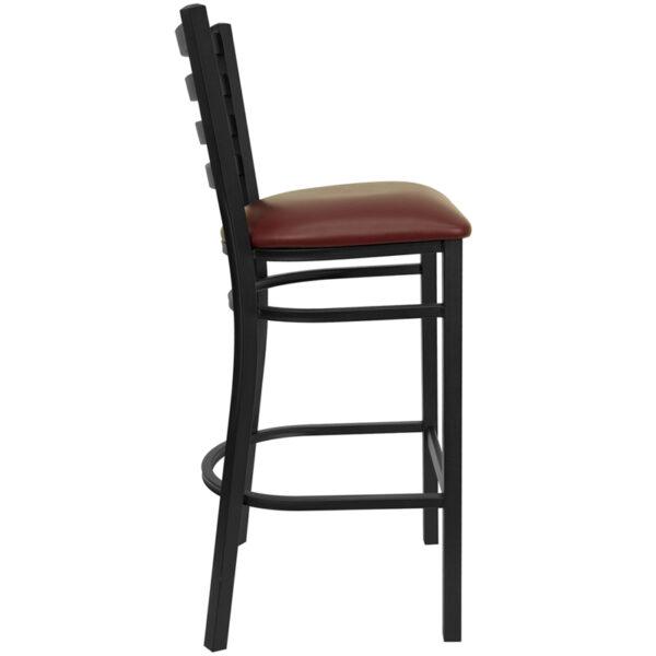 Lowest Price HERCULES Series Black Ladder Back Metal Restaurant Barstool - Burgundy Vinyl Seat