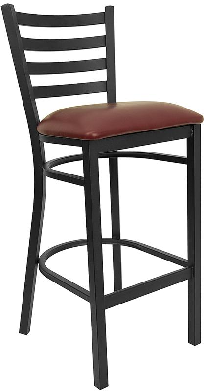 Wholesale HERCULES Series Black Ladder Back Metal Restaurant Barstool - Burgundy Vinyl Seat