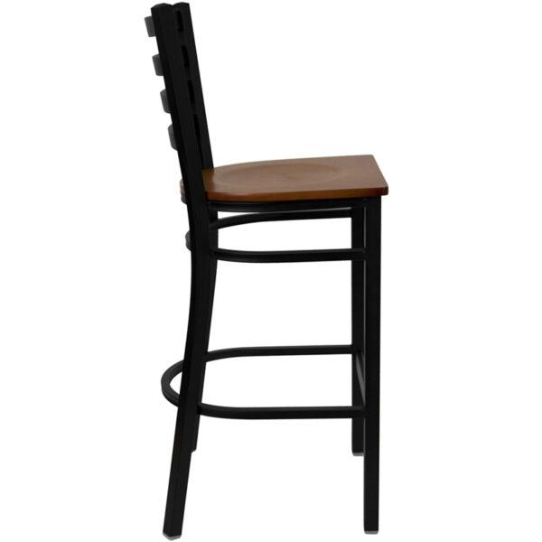Lowest Price HERCULES Series Black Ladder Back Metal Restaurant Barstool - Cherry Wood Seat