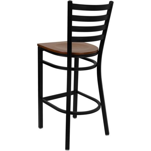 Metal Dining Bar Stool Black Ladder Stool-Cherry Seat