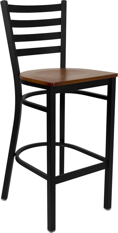 Wholesale HERCULES Series Black Ladder Back Metal Restaurant Barstool - Cherry Wood Seat