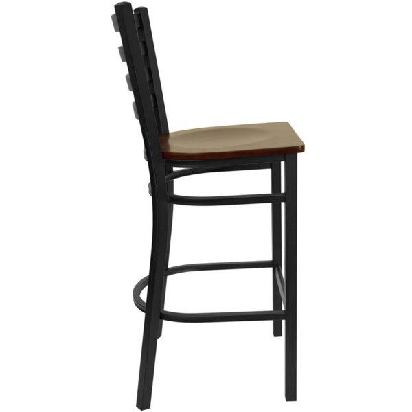 Lowest Price HERCULES Series Black Ladder Back Metal Restaurant Barstool - Mahogany Wood Seat