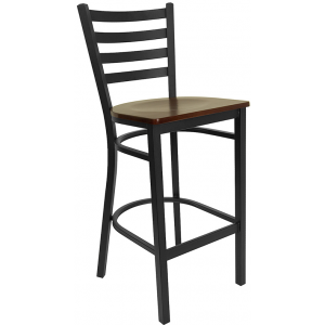 Wholesale HERCULES Series Black Ladder Back Metal Restaurant Barstool - Mahogany Wood Seat