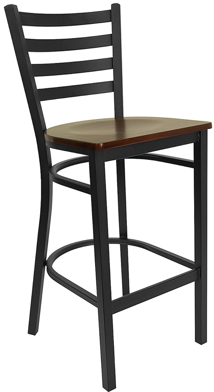 Wholesale HERCULES Series Black Ladder Back Metal Restaurant Barstool - Mahogany Wood Seat