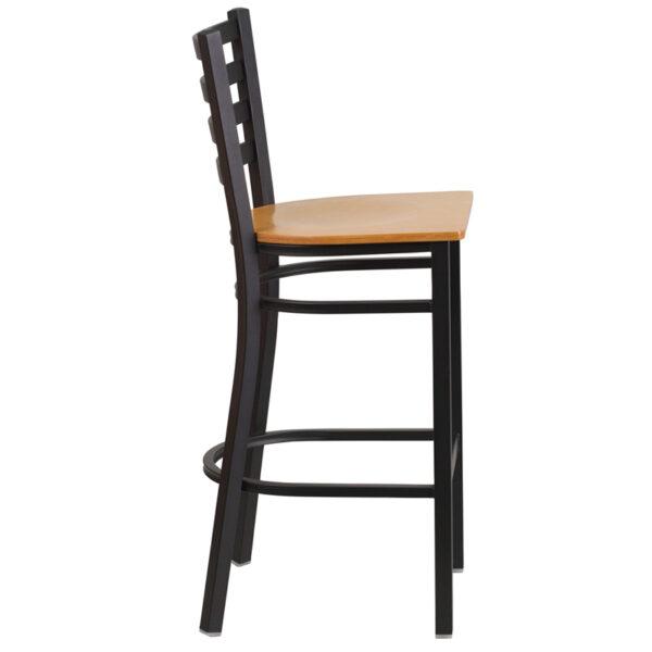 Lowest Price HERCULES Series Black Ladder Back Metal Restaurant Barstool - Natural Wood Seat