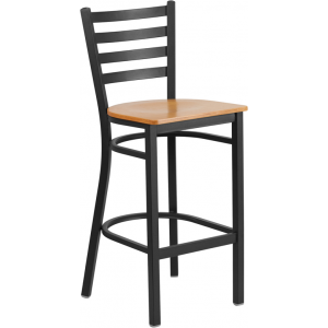 Wholesale HERCULES Series Black Ladder Back Metal Restaurant Barstool - Natural Wood Seat