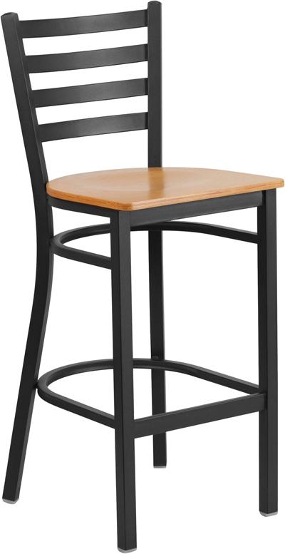 Wholesale HERCULES Series Black Ladder Back Metal Restaurant Barstool - Natural Wood Seat