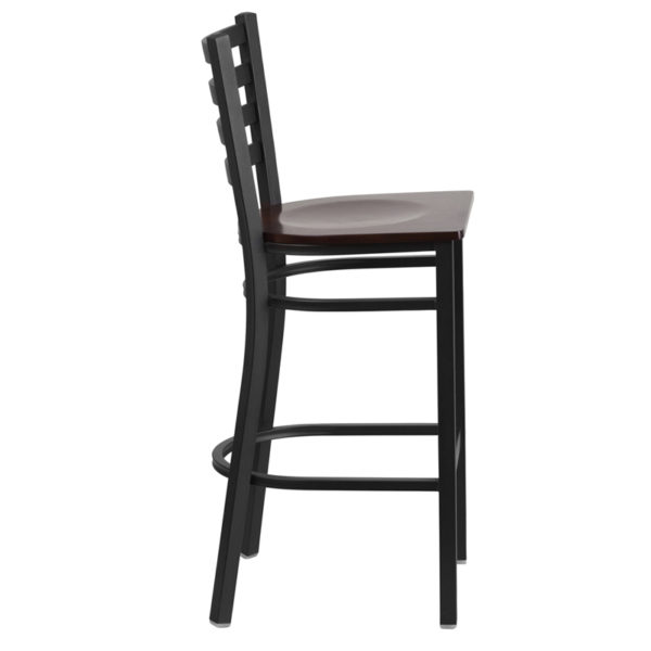 Lowest Price HERCULES Series Black Ladder Back Metal Restaurant Barstool - Walnut Wood Seat