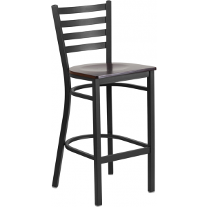 Wholesale HERCULES Series Black Ladder Back Metal Restaurant Barstool - Walnut Wood Seat