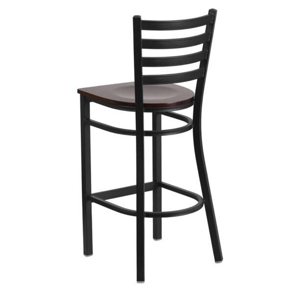 Metal Dining Bar Stool Black Ladder Stool-Wal Seat