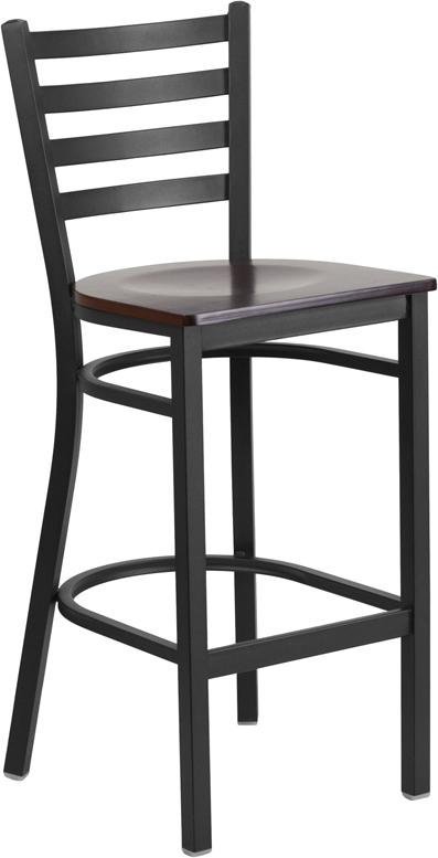 Wholesale HERCULES Series Black Ladder Back Metal Restaurant Barstool - Walnut Wood Seat