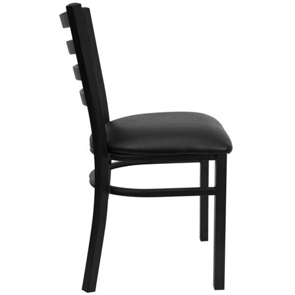 Lowest Price HERCULES Series Black Ladder Back Metal Restaurant Chair - Black Vinyl Seat