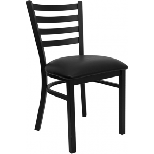Wholesale HERCULES Series Black Ladder Back Metal Restaurant Chair - Black Vinyl Seat