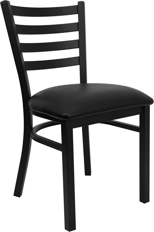 Wholesale HERCULES Series Black Ladder Back Metal Restaurant Chair - Black Vinyl Seat