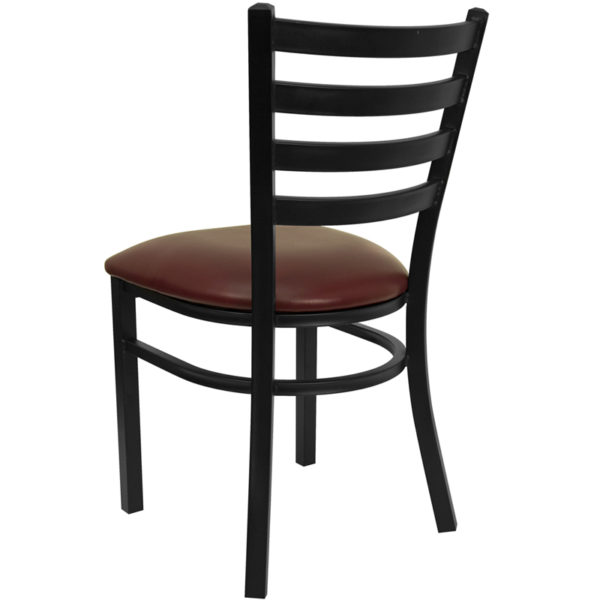 Metal Dining Chair Black Ladder Chair-Burg Seat