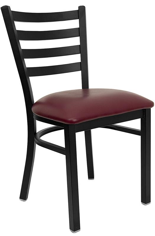 Wholesale HERCULES Series Black Ladder Back Metal Restaurant Chair - Burgundy Vinyl Seat
