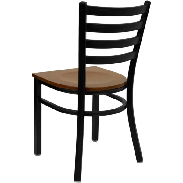Metal Dining Chair Black Ladder Chair-Cherry Seat