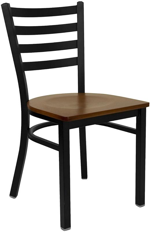 Wholesale HERCULES Series Black Ladder Back Metal Restaurant Chair - Cherry Wood Seat