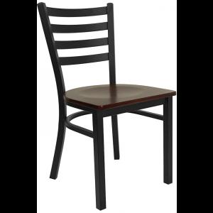 Wholesale HERCULES Series Black Ladder Back Metal Restaurant Chair - Mahogany Wood Seat