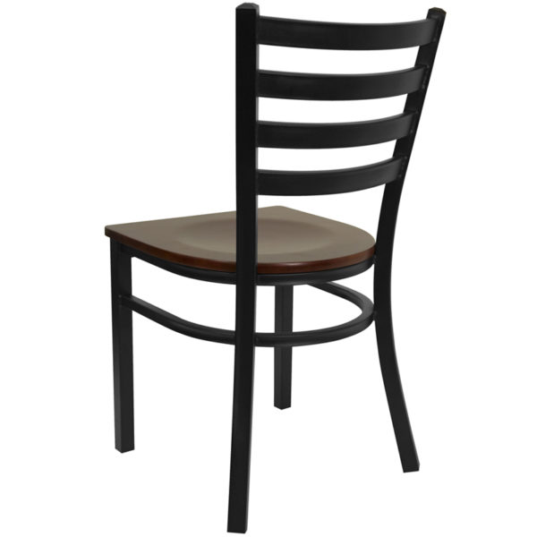 Metal Dining Chair Black Ladder Chair-Mah Seat