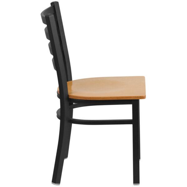 Lowest Price HERCULES Series Black Ladder Back Metal Restaurant Chair - Natural Wood Seat