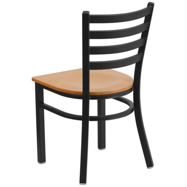 Metal Dining Chair Black Ladder Chair-Nat Seat
