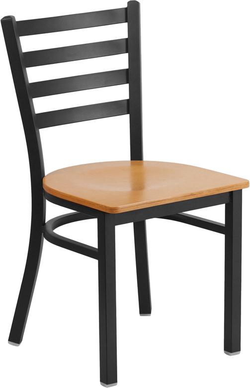 Wholesale HERCULES Series Black Ladder Back Metal Restaurant Chair - Natural Wood Seat