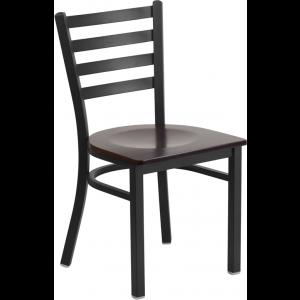 Wholesale HERCULES Series Black Ladder Back Metal Restaurant Chair - Walnut Wood Seat