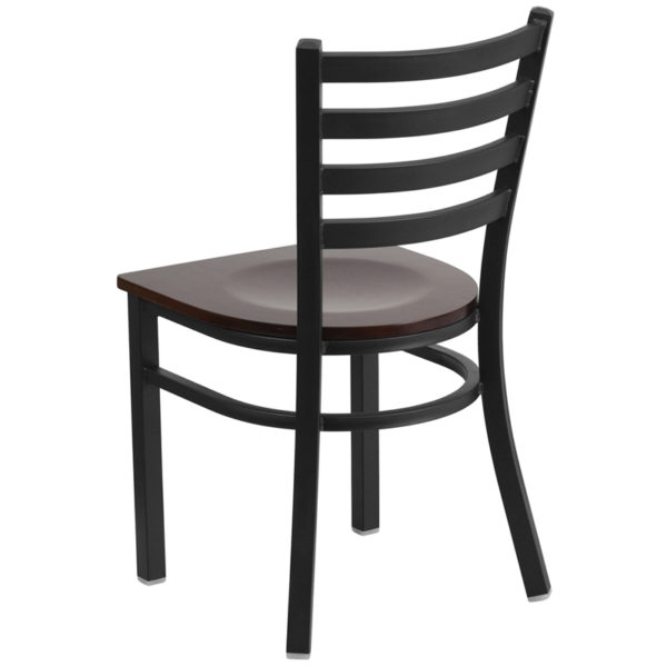 Metal Dining Chair Black Ladder Chair-Wal Seat