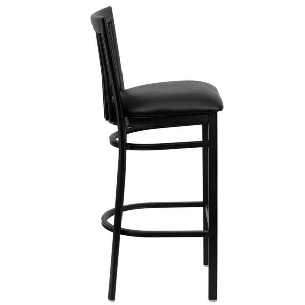 Lowest Price HERCULES Series Black School House Back Metal Restaurant Barstool - Black Vinyl Seat