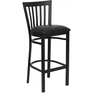 Wholesale HERCULES Series Black School House Back Metal Restaurant Barstool - Black Vinyl Seat
