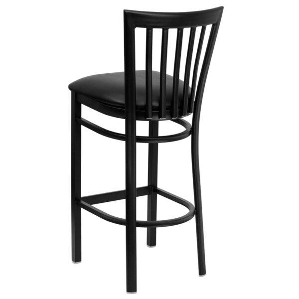 Metal Dining Bar Stool Black School Stool-Black Seat