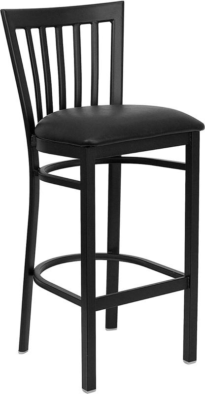 Wholesale HERCULES Series Black School House Back Metal Restaurant Barstool - Black Vinyl Seat