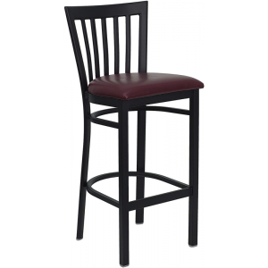 Wholesale HERCULES Series Black School House Back Metal Restaurant Barstool - Burgundy Vinyl Seat